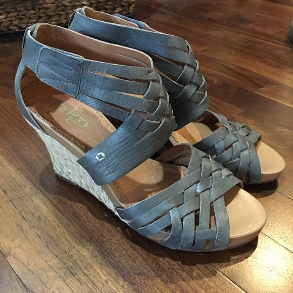 a59f7d38e48 Clarks Shoes - INDIGO BY CLARKS Gray Espadrille Wedge Sandals